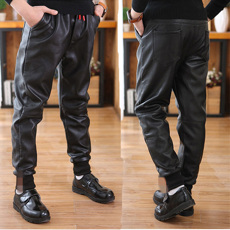 Children's winter trousers casual style Pu leather pants warm boys pants for 12Y black thick unisex mid kids trousers promotion 2