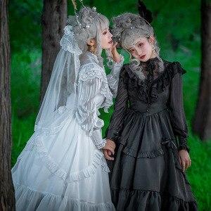 Image 5 - Vintage Long Sheer Sleeve Casual Dress Lace Ruffled Illusion Neck Midi Gothic Party Dress