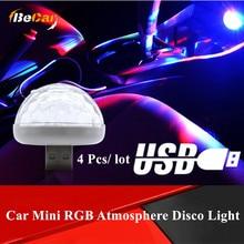 цена на 4 Pcs Mini Diamand Design Car USB LED Magic Disco Decorative Lamp RGB Atmosphere Light Auto Interior LED USB Stage Effect Lights