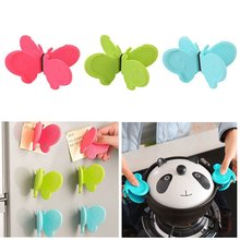 2 Pcs/set Butterfly Berbentuk Silikon Anti-Scald Perangkat Magnet Kulkas Alat Dapur Isolasi Piring Clamp(China)