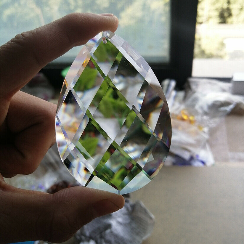 80mm Glass Art Crystal Prism Pendant Chandelier Lamp Hanging Ornament DIY Suncatcher Faceted Teardrop