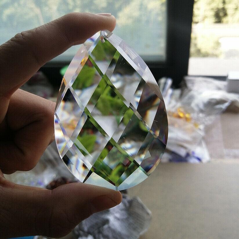80mm Glass Art Crystal Prism Pendant Chandelier Lamp Hanging Ornament DIY Suncatcher Faceted Teardrop