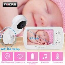 Monitor de vídeo de 4,3 pulgadas para bebé con cámara de seguridad para bebés, visión nocturna, detección de temperatura