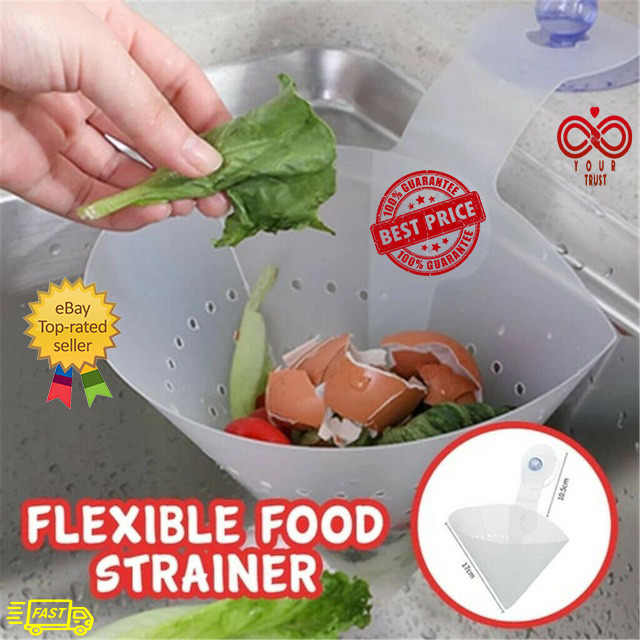 1Pc Foldable Drain Filter Bag Simple Sink Kitchen Storage Tool Suction Cup Home Kitchen
