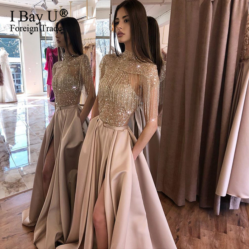 Bling Bling Rose Gold Muslim Formal Party Dress Tassel Cloak Glitter Lace A-Line Dubai Arabic Long Sleeve Evening Dresses 2020