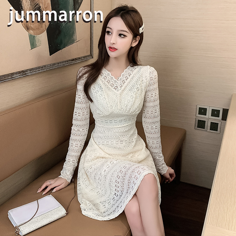 jummarron 2020 spring new waistband solid V-neck sweet lace long sleeve slim <font><b>dress</b></font> long sleeve <font><b>dress</b></font> women <font><b>dress</b></font> Full Hollow Out image