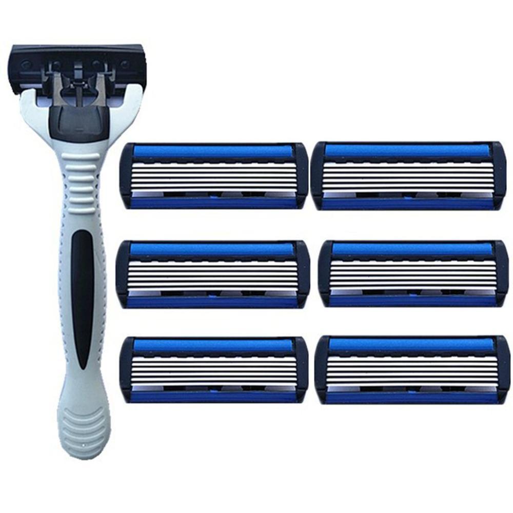 New 6 Layers Razor 1 Razor Holder + 7 Blades Replacement Shaver Head Cassette Shaving Razor Set Blue Face Knife For Man