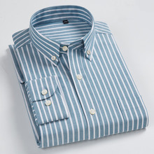 100% Cotton Oxford Striped Shirt Mens Shirts Casual Slim Fit Plus Size Long Sleeve Dress Camisas Hombre