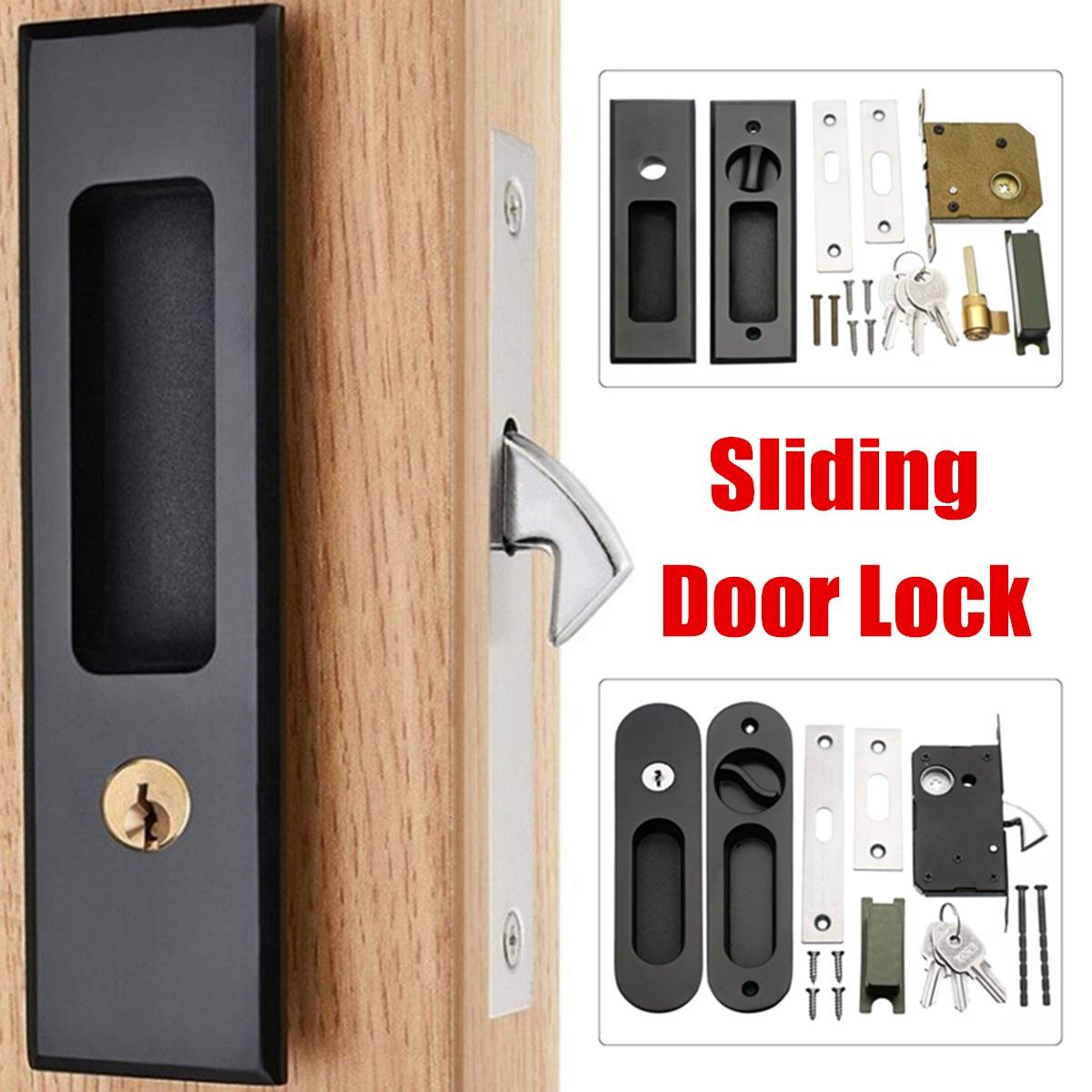 Clearance Sale Lock Hardware Accessory Furniture Black Handle Sliding Door Wood Anti Theft Room Matt