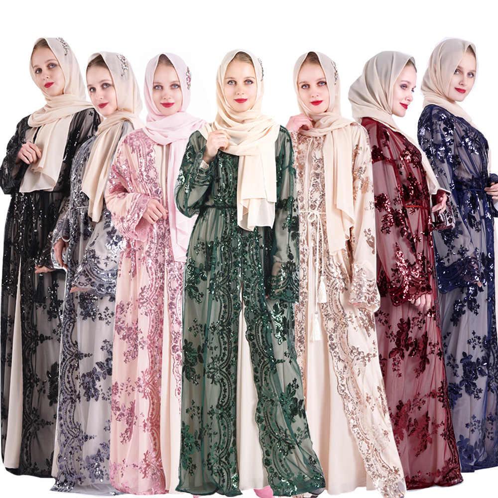 Laço de lantejoulas abaya kimono cardigan hijab vestido muçulmano kaftan dubai turquia caftan roupas islâmicas para mulher ramadan abayas robe