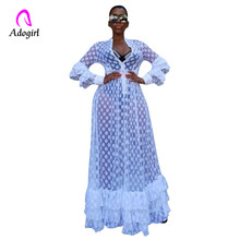 Adogirl Fit and Flare Mesh Overlay Ruffle Hem Dress Women Casual Autumn Zipper Neck Long Sleeve High Waist Transparent Dresses girls ruffle knot back mesh overlay dress