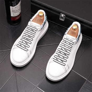 Moda białe męskie buty na platformie trampki okrągłe głowy obuwie hip-hopowe buty tenisowe Zapatillas Hombre tanie i dobre opinie Zepodhf podstawowe CN (pochodzenie) Na wiosnę jesień Z dwoiny RUBBER men shoes Sznurowane Na co dzień Dobrze pasuje do rozmiaru wybierz swój normalny rozmiar