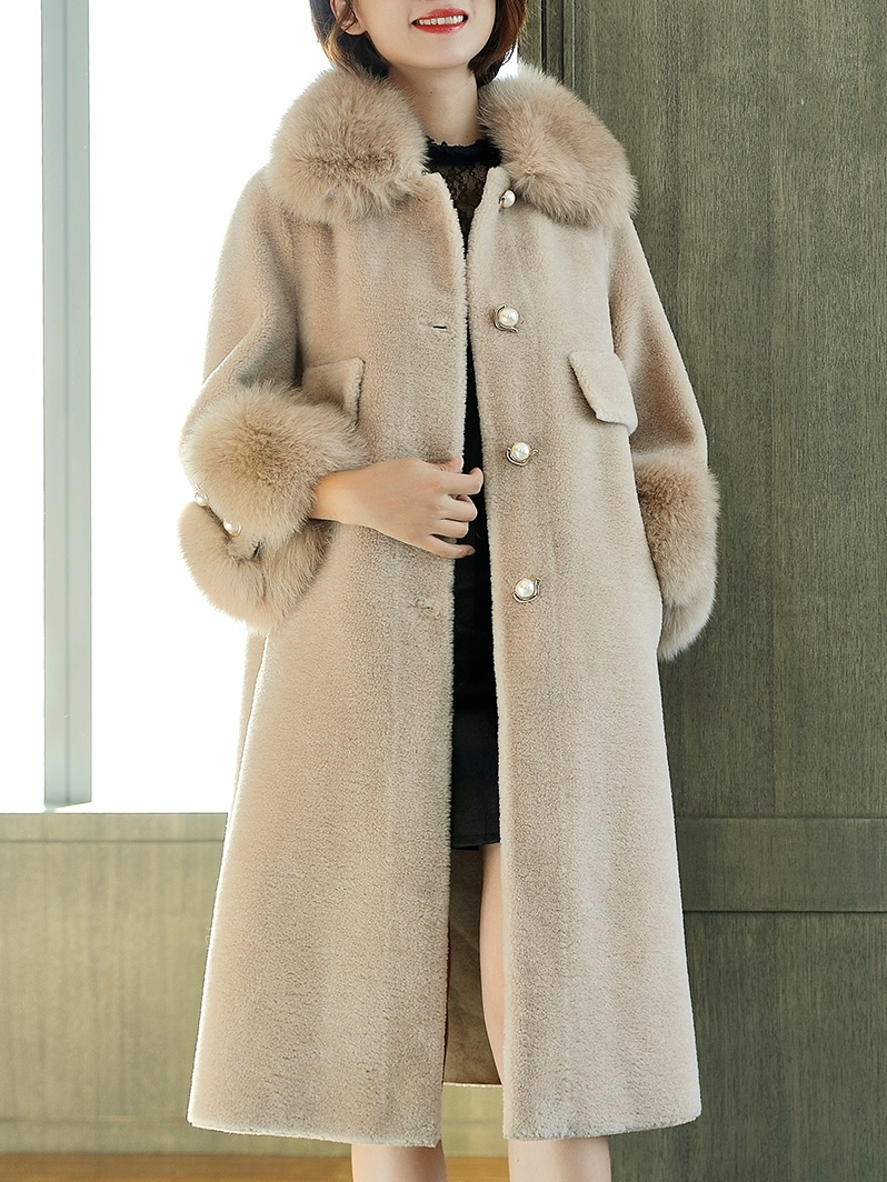 Sheep Women Shearling Jacket Real Wool Fur Coats 2020 Luxury Natural Fox Fur Collar Long Warm Winter Coat Women 1922