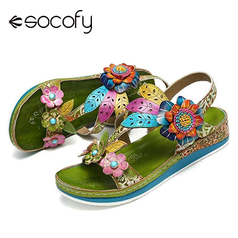 SOCOFY Loop Sandals Retro Shoes Comfortable Genuine-Leather Women Flowers-Pattern Floral