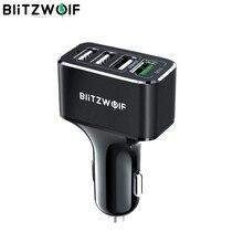 BlitzWolf USB לרכב מטען 4 יציאות USB 50W QC3.0 מהיר טעינה עבור טלפון נייד TDC 12V 24V עבור iPhone X XR Xs לxiaomi Mi8