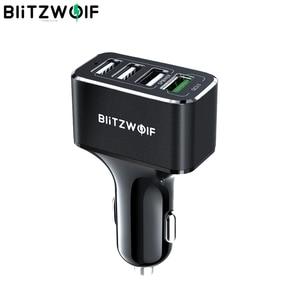 Image 1 - BlitzWolf USB לרכב מטען 4 יציאות USB 50W QC3.0 מהיר טעינה עבור טלפון נייד TDC 12V 24V עבור iPhone X XR Xs לxiaomi Mi8