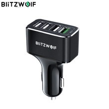 BlitzWolf USB araç şarj 4 USB port 50W QC3.0 cep telefonu için hızlı şarj TDC 12V 24V için iPhone X XR Xs Xiaomi Mi8