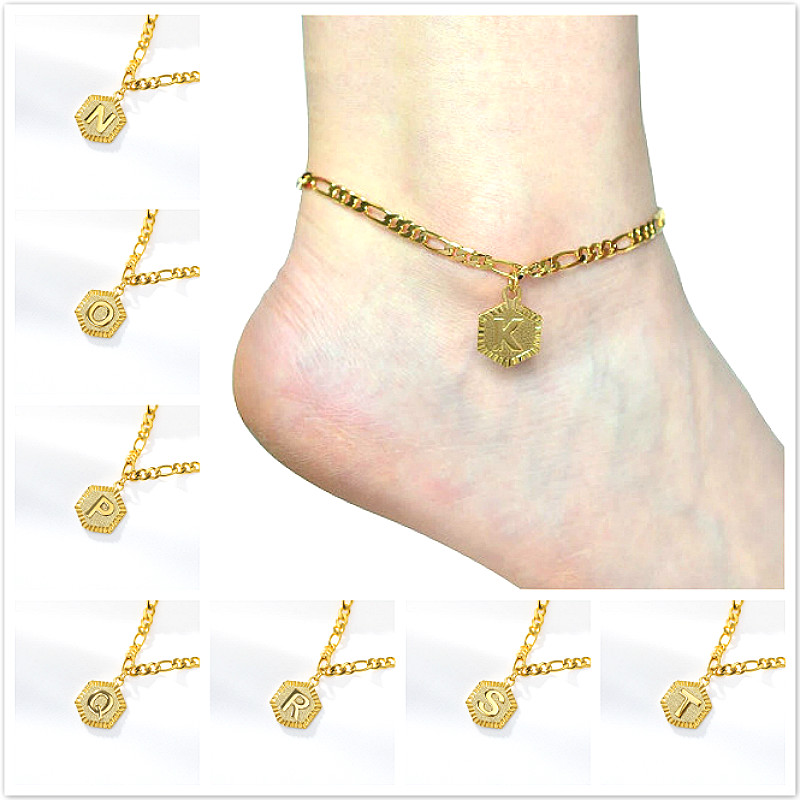 Leg-Bracelets Feet Chain Foot-Jewelry Initial Anklet Letter Women Summer Golden New Alphabet