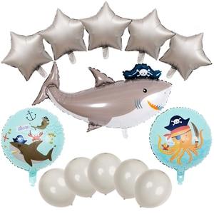 1set Big Gray Pirate Shark Balloons Sea Animal Large Shark Children Boy Party Favor 18 inch Foil Baloon Inflatable Toys Globos