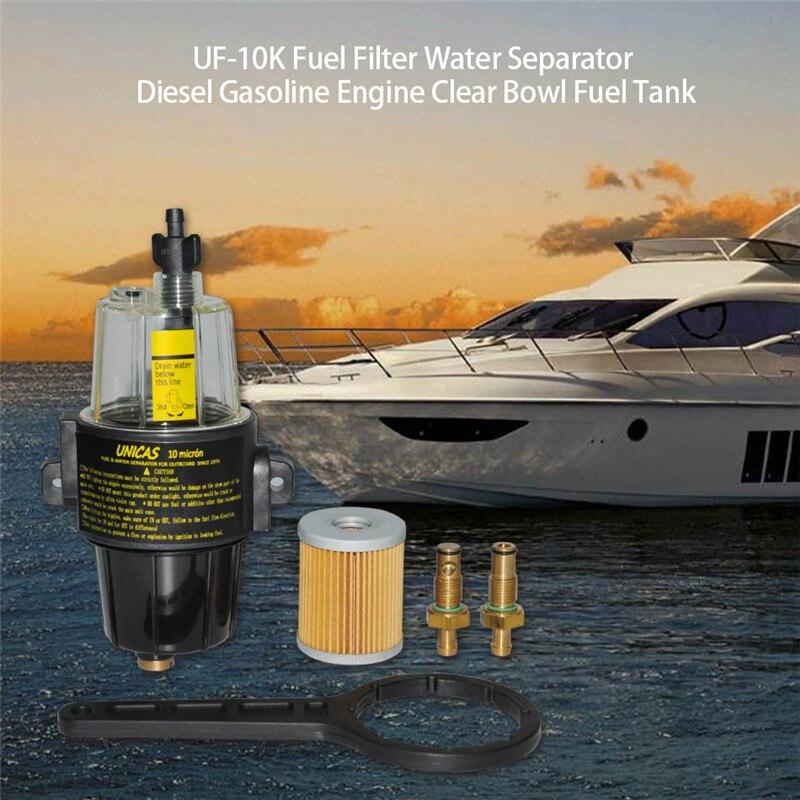 Yacht bateau diesel et moteur à essence UF-10K filtre à carburant séparateur d'eau assemblée-bol transparent tous les moteurs hors-bord réservoir de carburant