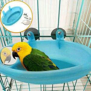 Pássaro banheira de banho de água para o animal de estimação gaiola pendurado tigela papagaio paraqueet birdbath com espelho