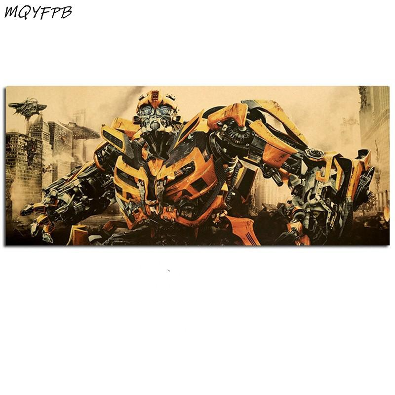 Transformers Bumblebee The Movie Kraft Paper Poster Wall Sticker Decorative Painting Household Products 70x29.5cm