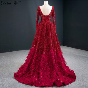 Image 4 - فساتين سهرة فاخرة على شكل حرف a مثيرة باللون الأحمر من دبي لعام 2020 فستان رسمي بأكمام طويلة مزين بالترتر الريش طراز Serene Hill HM67124