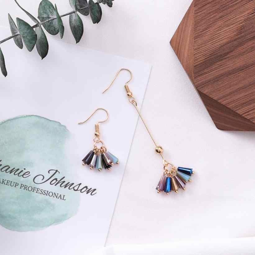 Temperament Contracted Asymmetry Small Crystal Earring Personality Long Tassel Ear Hook Ear Clip Female Statement Earrings