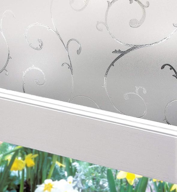 Privacy Window Film,Frosted Decorative Glass Door Film,Static Window Decor Self-adhesive Sticker, Heat Control Anti UV 2