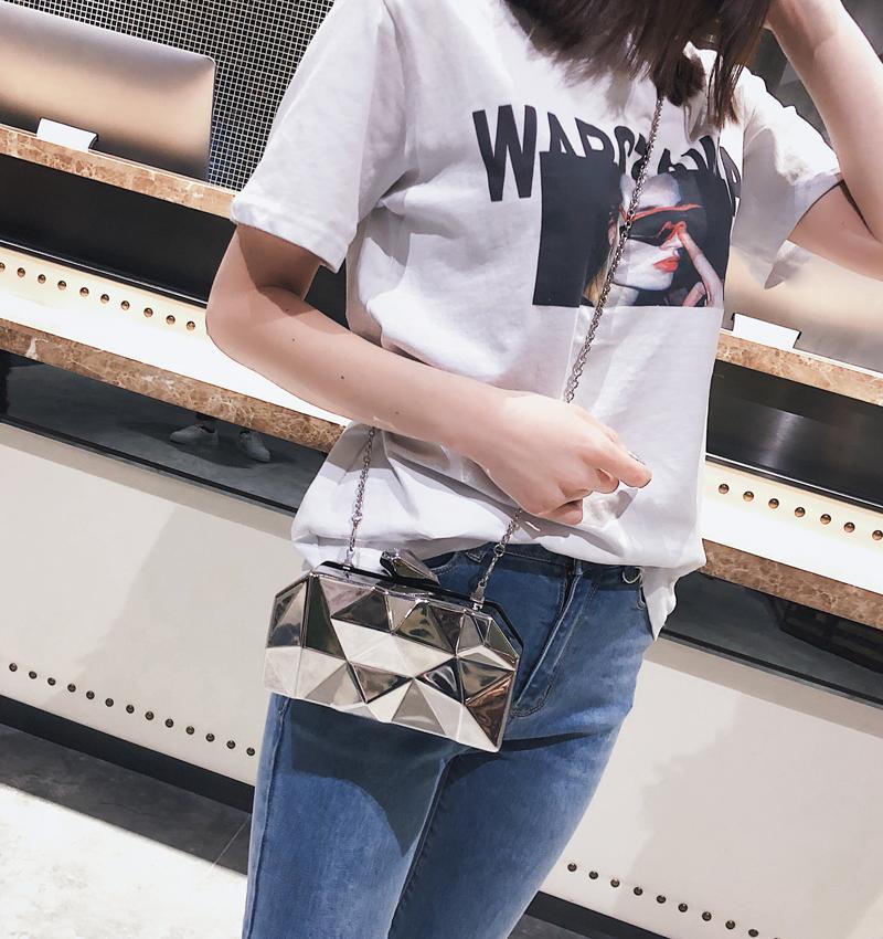 Hexagon Women Handbags Metal High Quality Clutches Fashion Geometric Mini Party Black Evening Purse Silver Bags Gold Box Clutch (17)