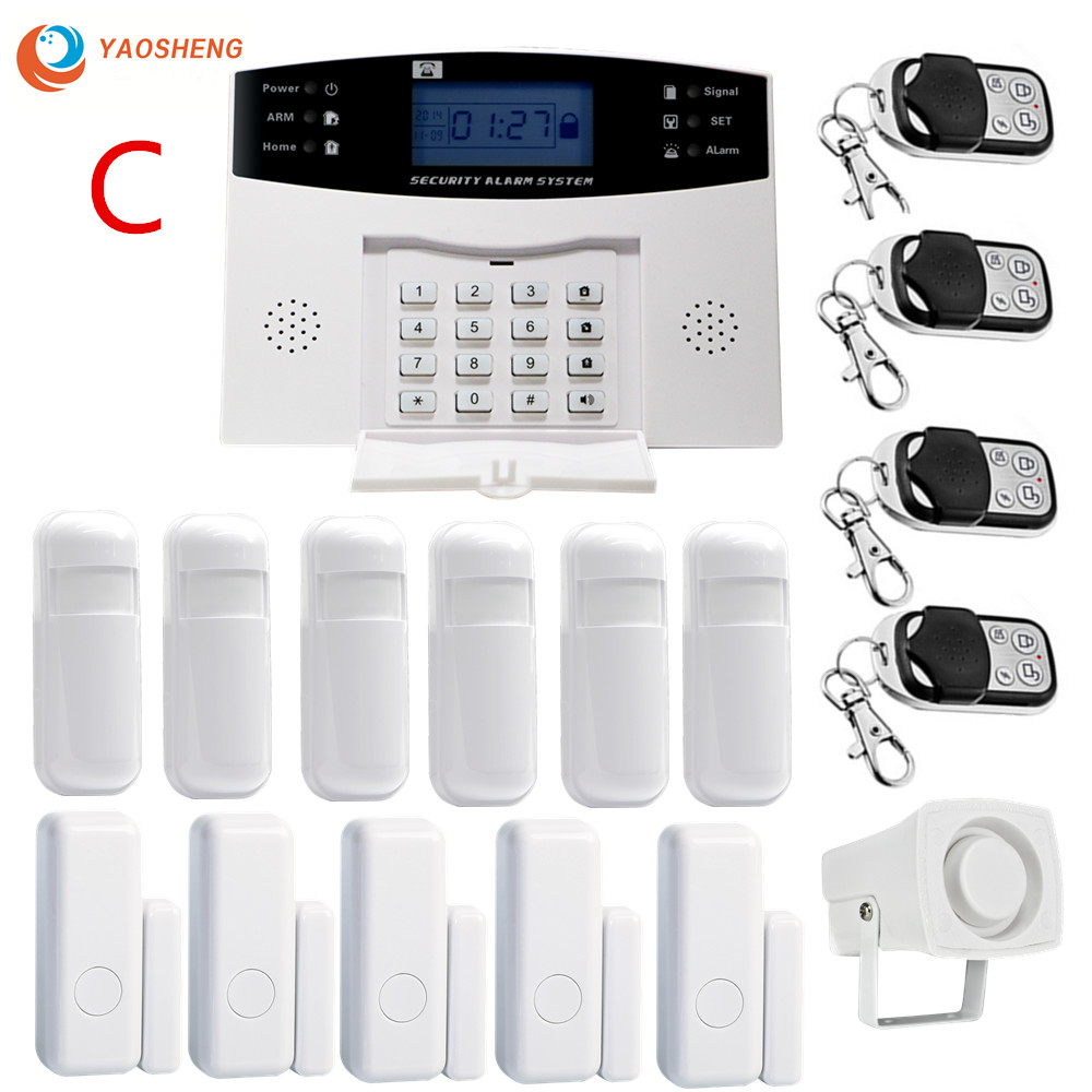LCD Dispaly Wireless Home Security Alarm System Kit GSM Alarm Intercom Remote Control Autodial IOS Android APP Control