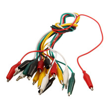 10pcs Alligator Clips Electrical DIY Test Leads 46cm Alligator Double-ended Crocodile Clips Roach Clip Test Jumper Wire Cable стоимость