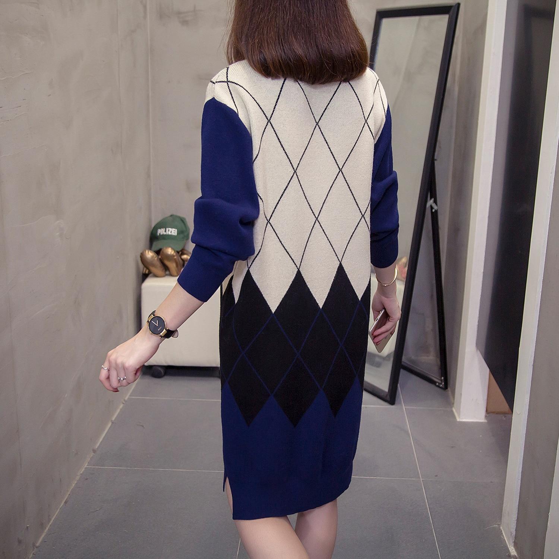 Image 3 - Большие размеры, пуловеры с узором в виде Аргайл, длинные свитера  для женщин, модное вязаное платье с v образным вырезом, винтажный  лоскутный Женский вязаный джемперПуловеры