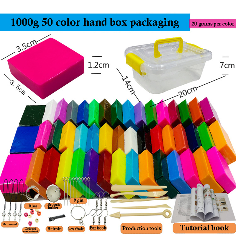 50 Colors Polymer Clay Light Soft Clay DIY Soft Molding Craft Oven Baking Clay Blocks Birthday Gift for Kids Adult Safe Colorful(China)