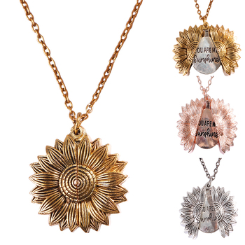 2020 New You Are My Sunshine Necklace Gold Open Locket Sunflower Pendant Necklaces For Women Jewelry image