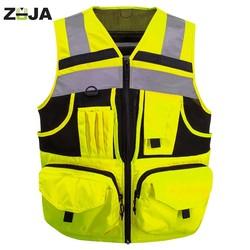 Zuja Reflecterende Vest Met Zakken Hoge Zichtbaarheid Veiligheid Vest Outdoor