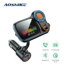 AOSHIKE FM Transmitter QC3.0 Aux Modulator Wireless Bluetooth Handsfree Car Kit Car Audio MP3 Player Lyrics Dual USB Car Charger