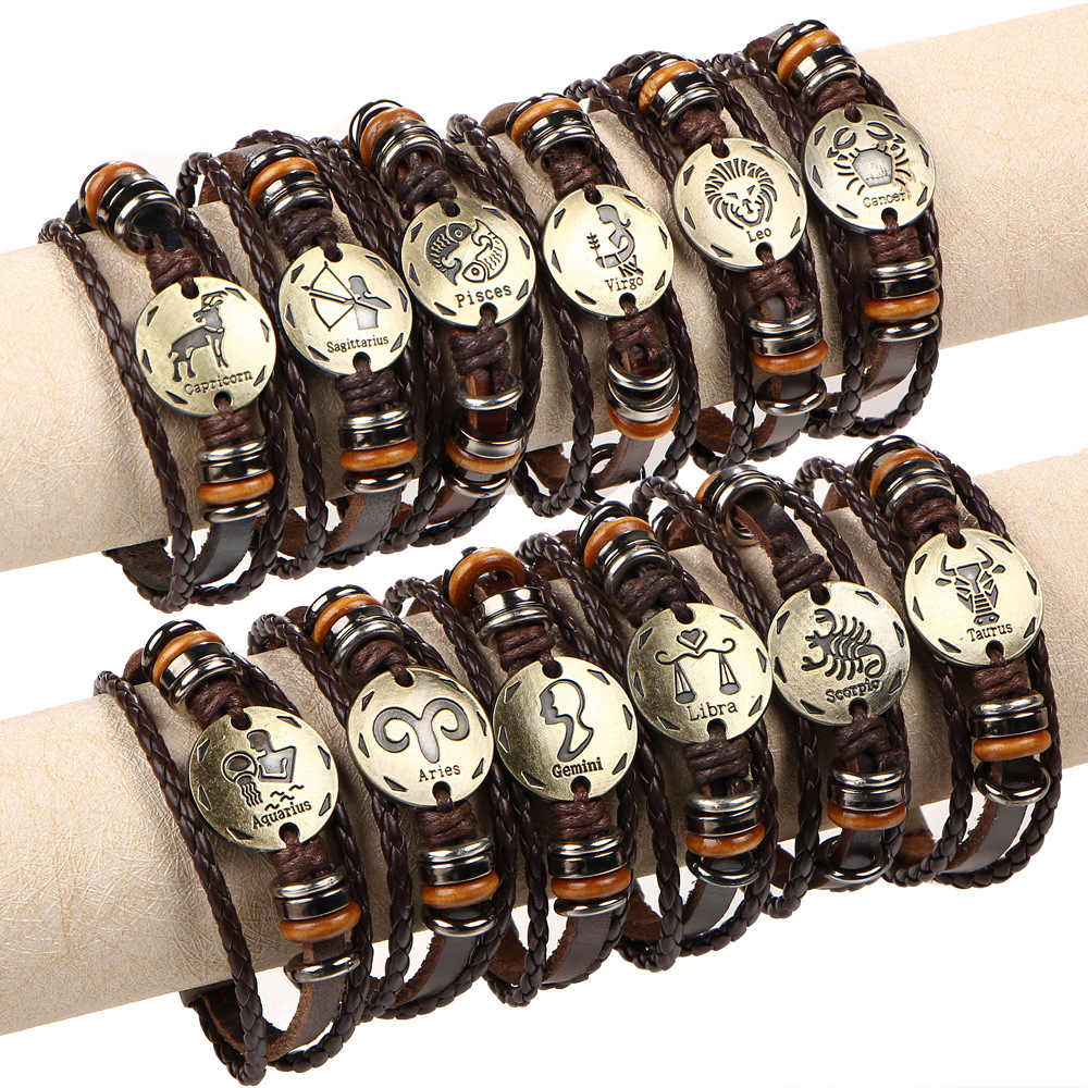 European and American retro multi-layer bronze 12 constellation with buckling punk couple braided leather bracelet