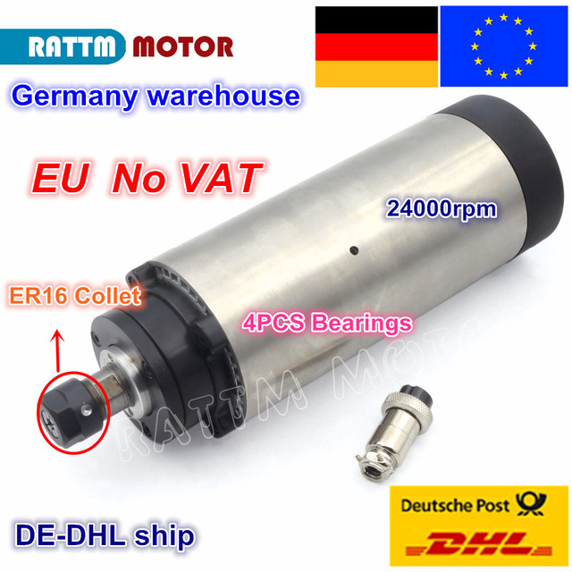 【DE free VAT】 1.5KW Air cooled Spindle motor ER16 80x200mm 220V 8A 4 Bearings for CNC Router ENGRAVING MILLING Cutting Machine