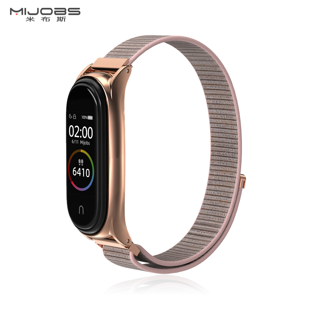 For Xiaomi Mi Band 4 Strap Metal Watchband Style Nylon Sport Loop Replaceable Strap For Mi Band 3 Bracelet Adjustable Wriststrap