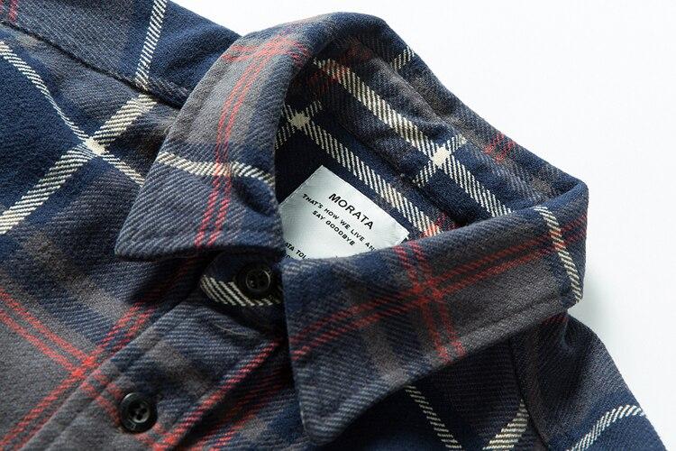 Hdbb7a1865e724bbdaea7cefb7335dedfp 100% cotton heavy weight retro vintage classic red black spring autumn winter long sleeve plaid shirt for men women