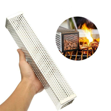 12 Polegada churrasco fumante grill tubo de aço inoxidável churrasco caixa fumada malha perfurada fumante filtro tubo acessórios para churrasco ferramentas