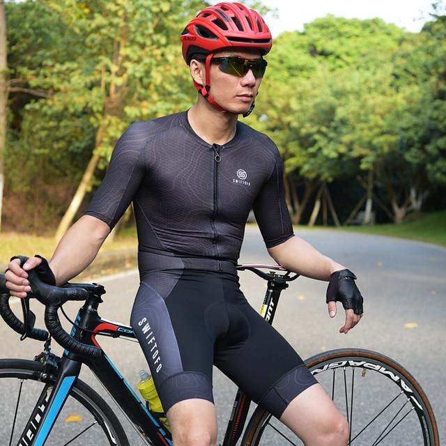 Swiftofo conjunto esportivo profissional, roupa de triathlon para homens, camiseta de ciclismo, macacão para andar de bicicleta, conjunto de roupas esportivas 2