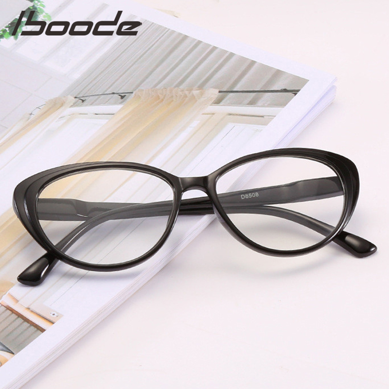 IBOODE Cat Eye Myopia Glasses Women Men Finished Nearsighted Eyeglasses Female Male Shortsighted Eyewear Unisex Spectacles