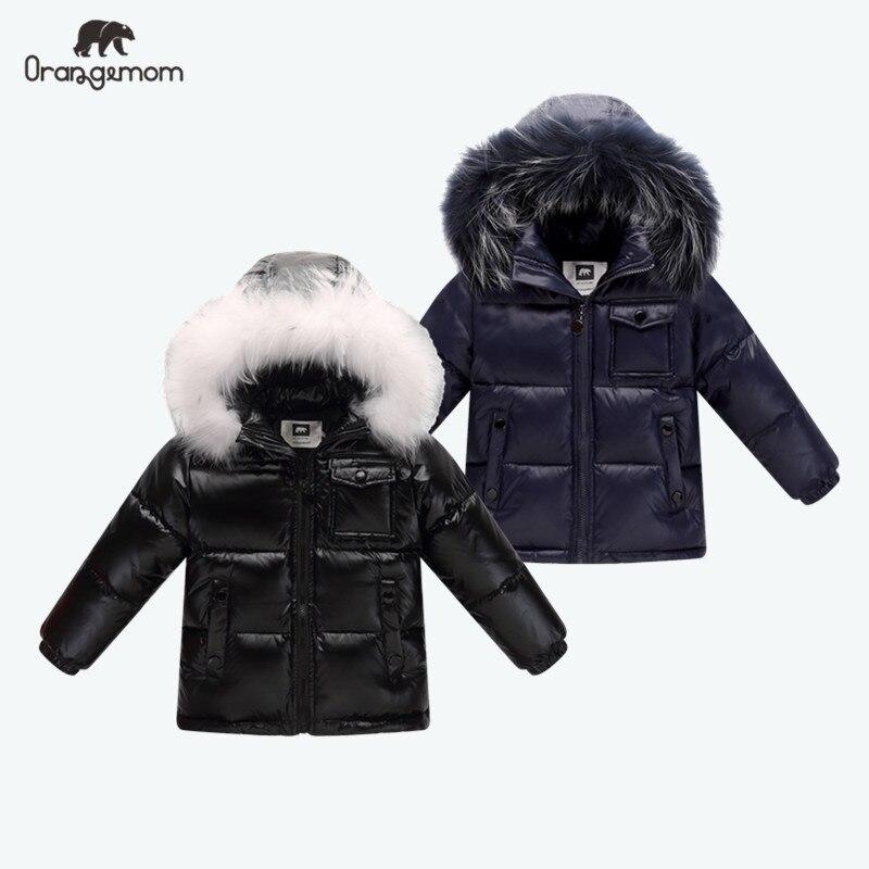 Black winter jacket parka for boys winter coat , 90% down girls jackets children's clothing snow wear kids outerwear boy clothes