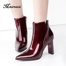 MAIERNISI Fashion Shoes Women Boots Elasticated Patent Leather Ankle Pointed High Heel Sexy for Ladies
