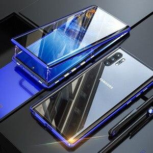 Image 3 - Magnetyczny dwustronnie szkło hartowane etui do Samsung Galaxy Note 10 Pro Plus Case odporny na wstrząsy twardy pancerz metalowy zderzak S20