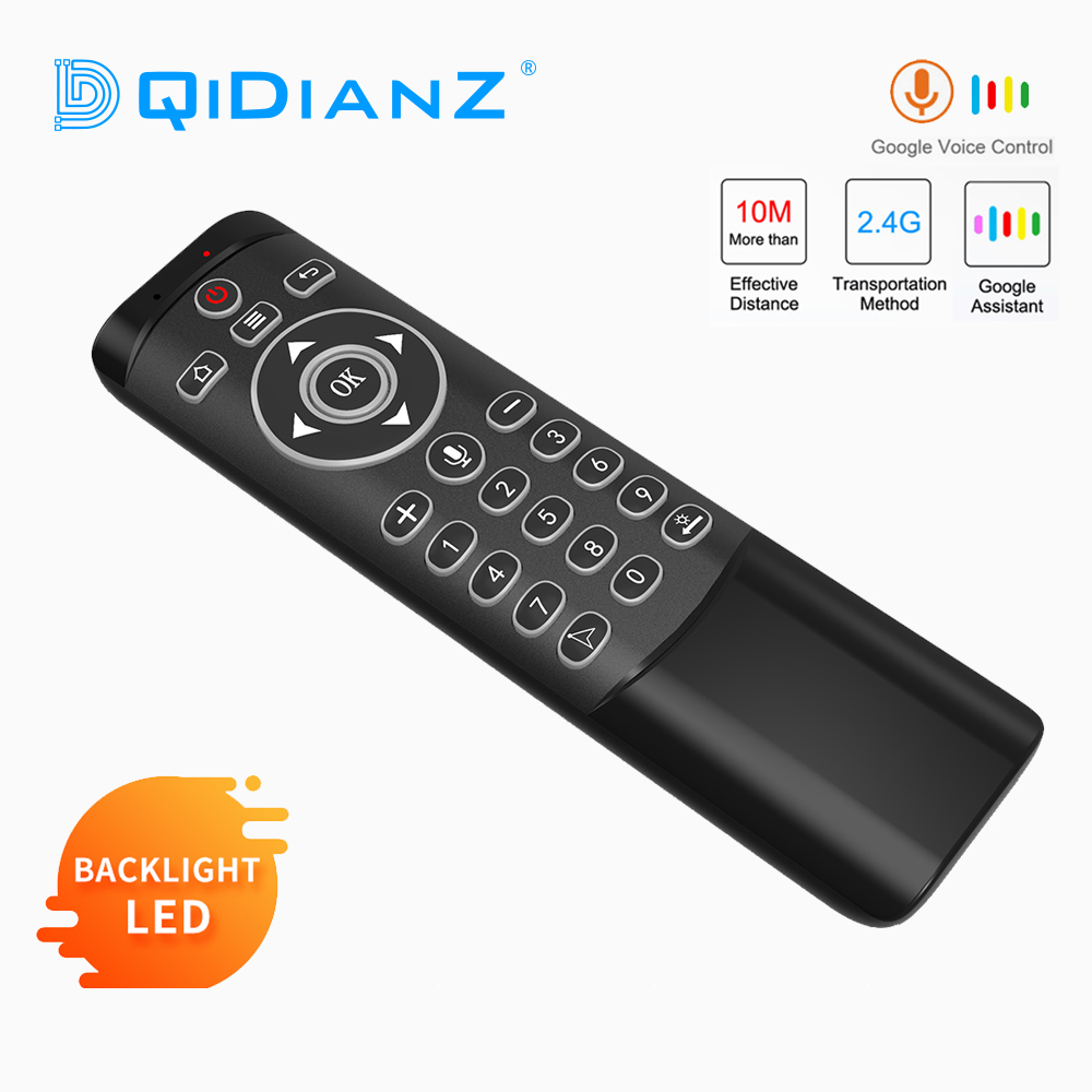 MT1 Voice Remote Control Google Air Mouse 2.4G with Gyroscope IR Learning LED Backlit For Android TV Box HK1 X96 H96 MAX Mini(China)