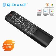 MT1 voix télécommande Google Air souris 2.4G avec Gyroscope IR apprentissage LED rétro éclairé pour Android TV Box HK1 X96 H96 MAX Mini