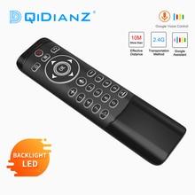 MT1 z pilotem Google Air Mouse 2.4G z żyroskopem IR nauka podświetlany LED dla Android TV, pudełko HK1 X96 H96 MAX Mini